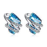 "Leafael ""Wish Stone"" Swarovski Crystal Blue Silver Earrings, December Birthstone"