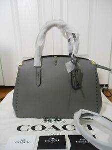 NWT COACH 1941 $650 Cooper Border Rivets Carryall Tote Shoulder Bag,Heather Grey
