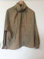 True Vintage St Michael Oversized Batwing Striped Blouse Top Size 12