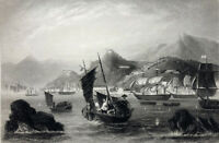 China, SIAMEN AMOY HARBOR FIRST OPIUM WARS NAVY SHIPS ~ 1843 Art Print Engraving