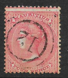 """Mauritius 1863-72 4d. Rose SG 62 : Used with """"12"""" in Concentric Rings Postmark"""