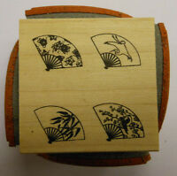Japanese Fans 4 sided Cube Rubber Stamp by JudiKins