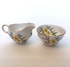 Vintage Melba Bone China Made In England, Creamer & Sugar with Yellow Flowers