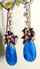 Kyanite Lapis Lazuli Pyrite Briolette Gemstone Earrings 925 Vermeil