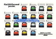 Poster pubblicitario anni '70  Fiat 126 Personal. Spedizione email.