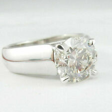 Engagement Ring in 14K White Gold Certified 3.00 ct Round Moissanite Prong