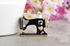 Lovely Gold Plated Black Enamel White Crystal Sewing Machine Statement Brooch