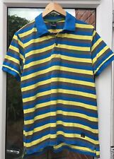Bench Mens Polo Shirt - Grey/ Blue /yellow Striped (XL)