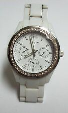 RELIC Big Rhinestone Studded WHITE Watch