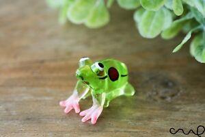 Handmade Green Little Glass Frog Gloss Garden Decor Ornament Gift Collectable