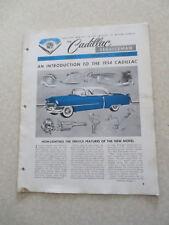 1954 Cadillac Preliminary Service information Cadillac Serviceman Bulletin