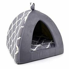 """New listing Pet Tent Soft Bed for Dog and Cat by Best 16"""" x x H:14"""", Gray Lattice"""