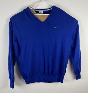 Men Lacoste royal blue cotton v-neck pullover sweater, 9 (US 4XL)