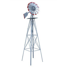 New listing 8Ft Metal Windmill Decoration Wind Mill Outdoor Garden Farm Weather Vane-Red Tip