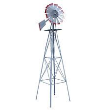 8FT Metal Windmill Decoration Wind Mill Outdoor Garden Farm Weather Vane-Red Tip