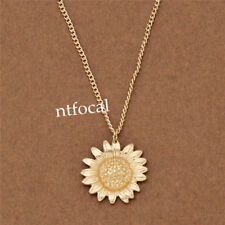 Gold Plating Sunflower Necklace Gold Floral Pendant Chain Custome Jewelry Decor