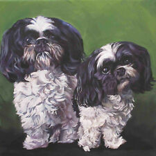 "SHIH TZU dog art canvas PRINT of LAShepard painting LSHEP 12x12"" black and white"
