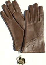 Gloves Leather Ladies Leather Vintage Pattern Hale Brown Knitted Lined 7
