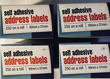 1000 Self Adhesive White address Labels Postage Label (4 Rolls)Sticky 89 x 37mm