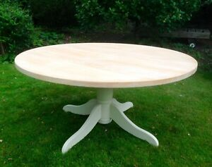 BEAUTIFUL 5 FT SOLID MAPLE ROUND DINING TABLE PAINTED ANNIE SLOAN SHABBY CHIC