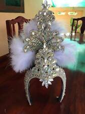 Crown handmade  White Beautiful  Headdress Diva Drag Queen Showgirl Cabaret