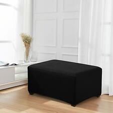 Enova Home Black Jacquard Polyester Stretch Fabric Oversized Ottoman Slipcover