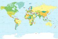 "Large World Map - Wall Chart Poster - Modern Political - A1 (34"" x 24"")"