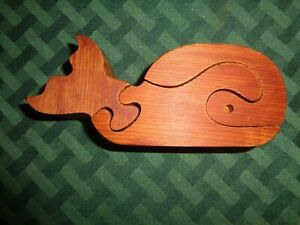 Vintage Wooden Jigsaw Puzzle Whale hand made