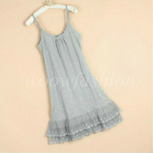 Women Cotton Lace Trimmed Full Length Camisole Slip Dress Extender 2XL Petticoat