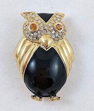 Joan Rivers Owl Pin Black Enamel Clear Crystals Gold Tone
