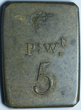 Brass 5 Pennyweight Coin Weight Penny Weight P:W.T
