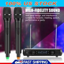 Pro Dual Handheld Wireless Microphone Mic &LCD Receiver System Kareoke Cordless