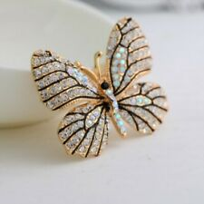 Yellow Gold Plated Crystal Rhinestone Butterfly Shape Pin Brooches