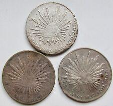 Mexico Group 3 Silver Coins 1846GaJG 8 Reales 1881CaMG 8 Reales & 1894CaMM Peso