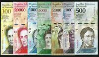 Venezuela 7 Pcs UNC Set , 500 to 100000 Bolivares , 2016 2017 Last Two S/N Same