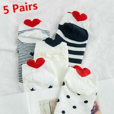5 Pairs  Women Socks Casual Work Heart-shaped Cotton Love Sock UK