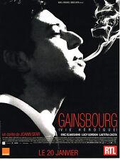 """PUBLICITE ADVERTISING   2010   RTL   GAINSBOURG  """" une vie héroique"""""""