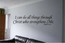 I CAN DO ALL THINGS THROUGH CHRIST PHILIPPIANS 4:13 VINYL WALL DECAL QUOTE