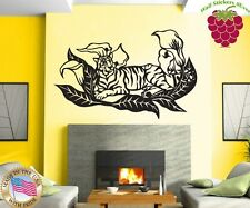 Wall Stickers Vinyl Decal Animals Africa Tiger And Flowers ig903