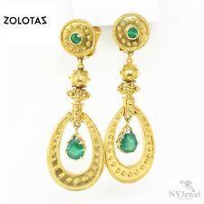 NYJEWEL Zolotas Greece 18k Yellow Gold 2ct Emeralds Large Earrings