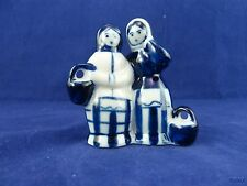 Gzhel Blue and White Peasant Women Figurine Hand Made in Russia Porcelain