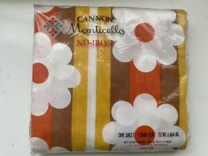 Vintage Cannon Monticello Twin Flat Sheet No Iron Flowers 60s pop sealed
