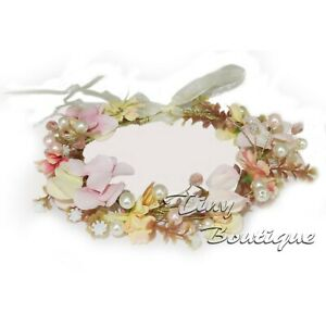 Girls Flower Hair Garland Head Floral Tiara with Pearls Beads Wedding Party Prom