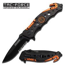 TAC FORCE Spring Assisted Pocket Knife EMT Tactical Folding Knife Black Orange