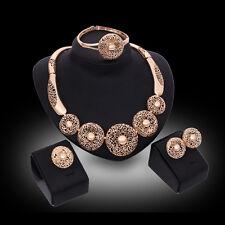 Women 18K Gold Plated Totem Wedding Necklace Bracelet Earring Ring Jewelry Set