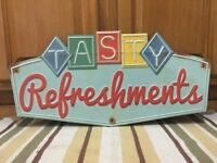 Tasty Refreshments Metal Sign Vintage Style Movie Theatre Room Game Popcorn
