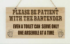 Bartender Funny Bar Toilet Swear Sweary Hanging Plaque Wall Sign Present Gift