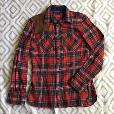 Ralph Lauren Women's Red Plaid Suede Shoulder Patch Flannel Shirt Size 8