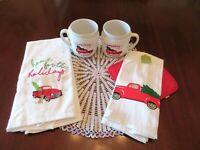 Lot 5 Country Red Truck Christmas Tree 2 Mugs With Cozies, 2 Towels & Pot Holder