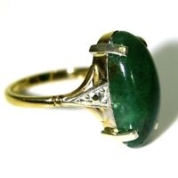 Late Art Deco Jade 9ct Yellow & White Gold Statement Ring size L ~ 5 3/4